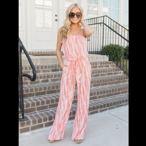 Coral stripped jumpsuit